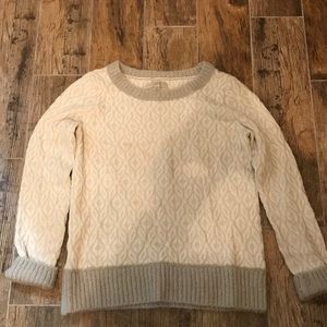 Loft Gray& White Crew Neck Sweater